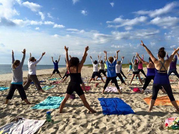 Awesome beach yoga